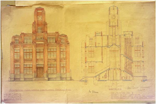 1934年11月10日紅街市側立面和剖面圖